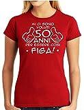 Wixsoo T-Shirt Maglietta Compleanno 50 Anni Donna (S, Rosso)