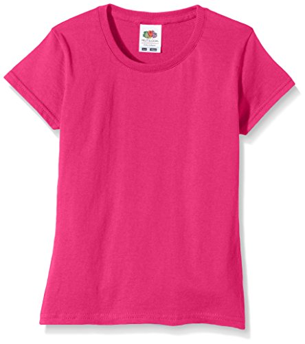 Fruit of the Loom Mädchen Softspun T-Shirt - 10 Farben / Ages 3-1 - Fuchsia - 78