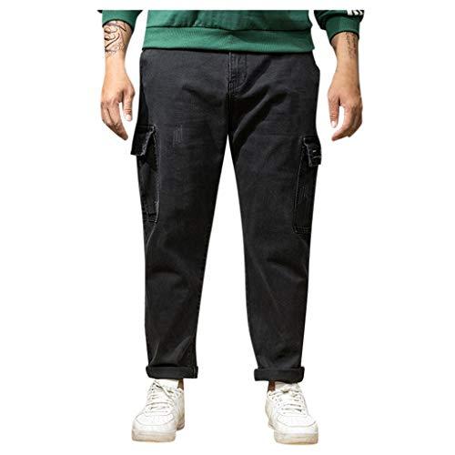 Cerlemi Herren Jeans Jeanshose Mode Stretch Sweathose in Jeansoptik Jeans Basic Freizeithose Sporthose Männer Arbeitshose Mode Stretch Yoga Pluderhose Cargo Freizeithose