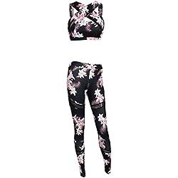 Juego de pantalones de yoga y fitness con estampado floral de cintura alta y yoga, juego de leggings deportivos ajustados y largos para mujer y chica fresca Color M