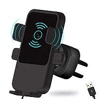 قاعدة تثبيت وحامل هاتف محمول يثبت على شبك منفذ التهوية في السيارة مزود بشاحن هاتف محمول سريع