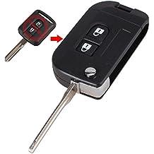 2botones remoto Key Fob Case Shell para Nissan Navara, Pathfinder, Micra K12Qashqai no chip con hoja