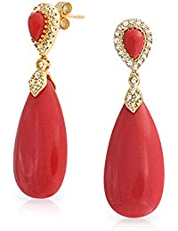 Gold Plated CZ Red Synthetic Coral Teardrop Earrings Silver
