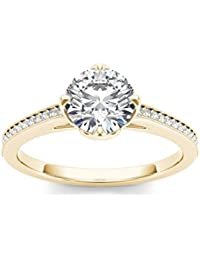 Solitaire House 18KT Yellow Gold, Diamond And Cubic Zirconia Ring For Women