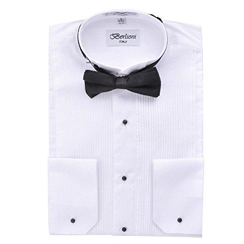 Berlioni Herren Klassisches Tuxedo Flügelspitze Kleid Hemd mit Fliege in Schwarz und Weiß - Weiß - Large (41-42) Ärmel 36/37 -