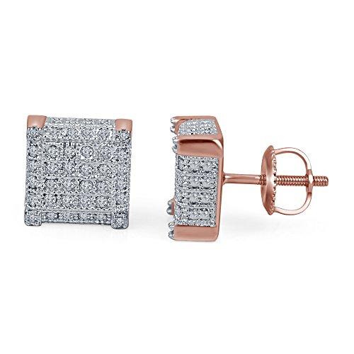 lilu Jewels Hot femmes de mode diamant blanc véritable boucles d'oreilles clous en argent sterling 925Bloc cube Big 14k Rose Gold Plated