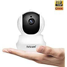 Sricam SP020 Cámara de vigilancia Wireless 1280 * 720P HD IP Camera Wifi/Ethernet con instrucciones para el uso App Sricam o ONVIF/Assistenza Español compatible con iOS/Android/Windows