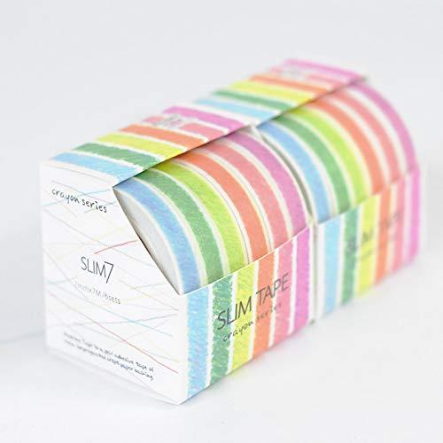 PInerxuz - 6Pcs 7Mmx7M Crayon Graffiti-Serie und Bonrollen Original-Tagebuch Band Lernen Briefpapier Kawaii