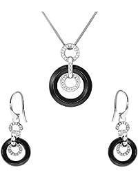 Stella Maris Damen Schmuckset - Halskette mit Anhänger und Ohrringe - 925 Sterling Silber und Premium Keramik in Schwarz - Zirkoniasteine und Diamanten - 45 cm - STM15J019A20