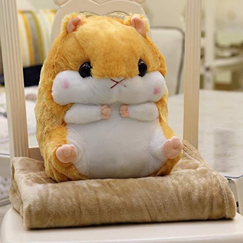 Mjia pillow Plüschkissen,Cute Hamster Plüsch Puppe Spielzeug weiche Decke Wunderbares Geschenk für Kinder und Freundin,Hellbraun, Kinder