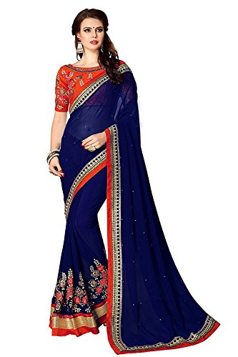 VAANSI CREATION Georgette Saree With Blouse Piece (9800_Eye Catching_Free Size)