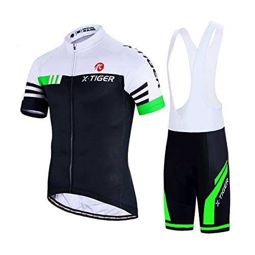 X-tiger da ciclismo uomo 5d gel salopette pantaloncini corti imbottiti set di abbigliamento ciclista (verde e bianco, 2xl(cn)=xl(eu))