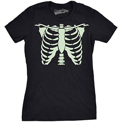 mens Glowing Skeleton Tshirt Rib Cage Cool Glow in The Dark Halloween Tee (Black) 3XL - Damen - 3XL (Glow In The Dark T-shirts Für Halloween)