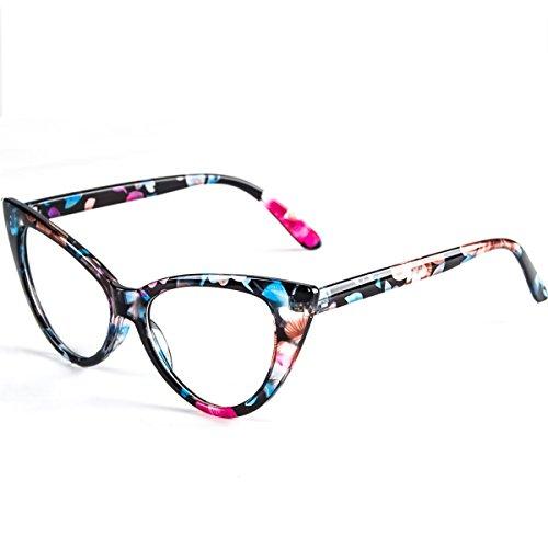 Dollger Cateye Gläser löschen Objektiv reizende Schutzbrillen Frauen Weinlese Brillen(klare+Blumendruck) (Schwarz Und Weiß Weinlese Katzenaugen Brille)