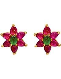 Joyalukkas Ratna Collections 22k (916) Yellow Gold and Emerald Stud Earrings for Women