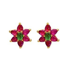 Joyalukkas Ratna Collections 22k (916) Yellow Gold and Emerald Stud Earrings