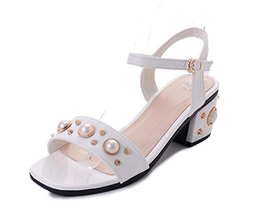 Im Sommer mit Sandalen weiblichen Fischkopf kühlen Pantoffeln Wort wilden Schuhe mit Perlen White