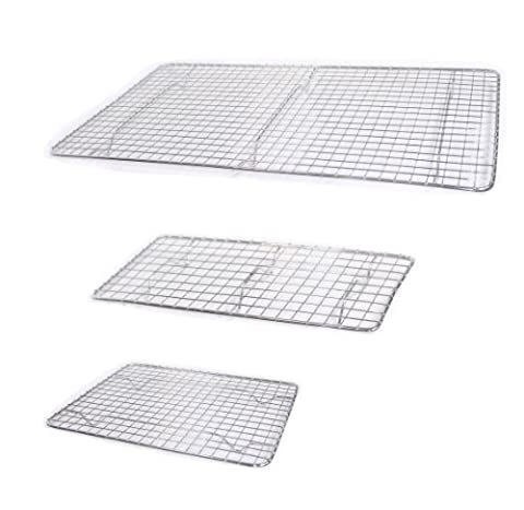 Set of 3 Pan Grates, Cooling Racks, Assorted Sizes, Small, Medium, and Large, Chrome Plated