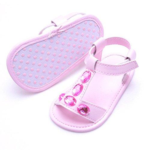 Igemy 1Paar Kleinkind Sommer Baby Jungen Mädchen Krippe Kristall Anti-Rutsch Baby Sneakers Sandalen Schuhe Rosa