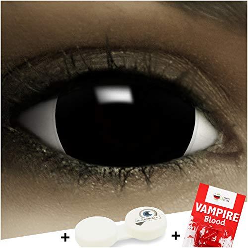 Farbige Kontaktlinsen Mini Sclera Black MIT STÄRKE -1.50 + Kunstblut Kapseln + Behälter von FXCONTACTS in schwarz, weich, im 2er Pack - angenehm zu tragen und perfekt zu Halloween, Karneval, Fasching oder Fasnacht