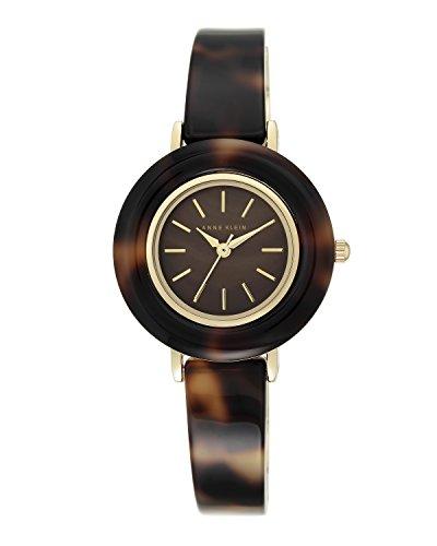 anne-klein-femme-montre-a-quartz-avec-marron-cadran-affichage-analogique-et-bracelet-en-resine-marro