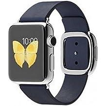 Apple Watch Edelstahl Smartwatch , Größe :38 mm Gehäuse, Armband:Leder - Modern, Armbandfarbe:Blau - S (135-150mm)