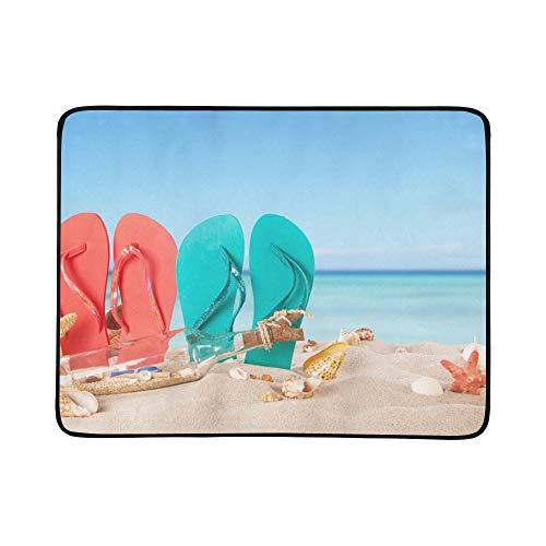 KAOROU Sommer-Konzept farbige Sandalen auf Strand Stockfoto Muster-tragbare und Faltbare Deckenmatte 60x78 Zoll-handliche Matte für kampierenden Picknick-Strand Reise im Freien im Freien -