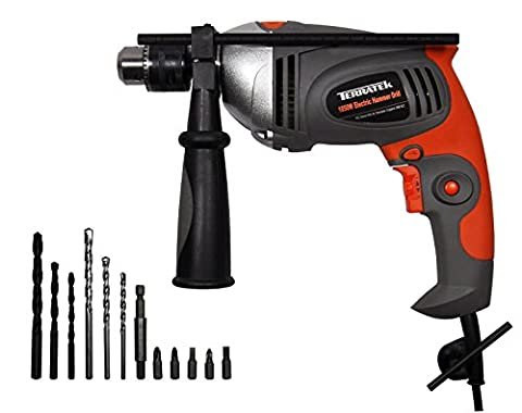 Terratek 1050W Hammer Drill, Powerful Variable Speed Electric Drill Complete with 13pc Drill Bit Set