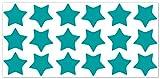 wandfabrik - Fahrradaufkleber 18 Sterne in türkis - Wandtattoo geeignet als Dekoration Klebefolie Wandbild Wanddeko Tiere für Wohnzimmer Kinderzimmer Babyzimmer Badezimmer Fliesen Tapete Küche Flur Wohnung und Schlafzimmer für Junge Mädchen Baby Kinder Wandtattoos
