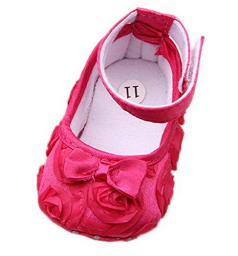 Bigood Mode süße Baby-Mädchen Seidenstoff Krabbelschuhe Lauflernschuhe Schleife 13 Rot Rosa