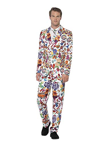 Jahre Herren Kostüm Sechziger - shoperama 60's Groovy Anzug mit Krawatte Herren-Kostüm Sakko Jackett Hose JAG Sechziger 60er Jahre Swinging Sixties Flower Power Party, Größe:M