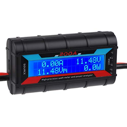200A High Precision Power Analyzer Wattmeter Batterieverbrauch Leistungsüberwachung mit LCD-Hintergrundbeleuchtung für RC, Batterie, Solar, Windenergie -