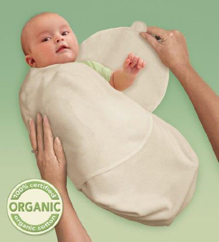 SwaddleMe O3N Baby-Groß/Bio-Baumwolle/Natur - Ganzkörper-Pucksack ist ideal bei Schreibabys. Large.