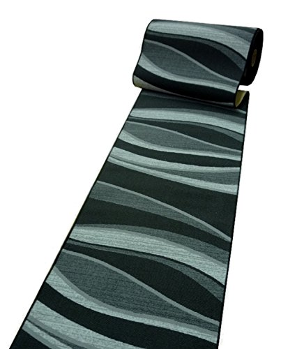 Läufer Teppich Brücke Teppichläufer WAVES 80 cm breit schwarz anthrazit 80 x 250 cm