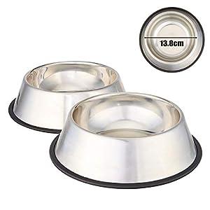Mlife Gamelle en acier inoxydable avec base en caoutchouc pour chiens de petite et moyenne taille, animaux de compagnie Mangeoire Bol et de l'eau Bol Perfect Choice (lot de 2)