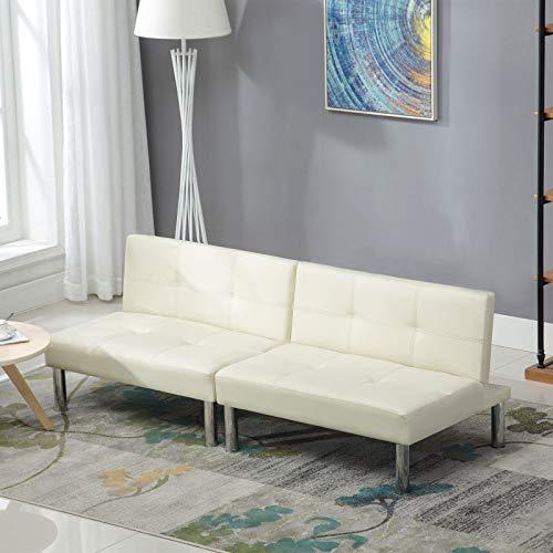 mecor 180 x 90 Schlafsofa Weiß/Cremefarben Leder Schlafcouch Luxuriös Sofabett 4 Sitzer