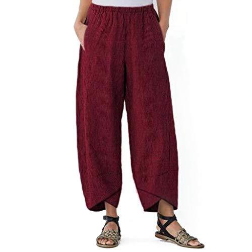 mounter- Damen-Hose, Weite Beine, hohe Elastikbund, knöchellang, Baumwolle, Leinen, lose Freizeithose Gr. Medium, Wein -