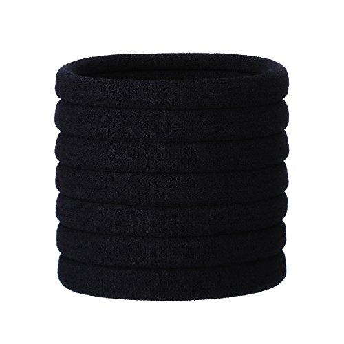 20 Stück Große Schwarz Baumwolle Stretchbar Haargummi Bands Seil Pferdeschwanz Halter Stirnband für Dicke Schwere und Lockiges Haar