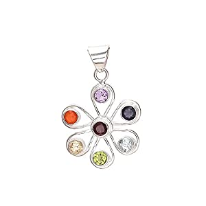 Emprell Women 925 Sterling Silver Flower Pendant studded with Multiple Semiprecious Gemstones