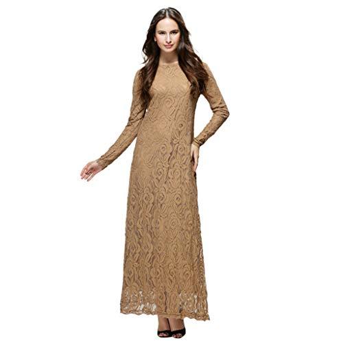Muslimische Kleider Yesmile Vintage Langarm Kleid Frauen Spitze Patchwork Knöchellang Kleider Tunika Abaya Dubai Damen Casual Abendkleid Hochzeit Kaftan Robe Muslim Lang Maxikleid -