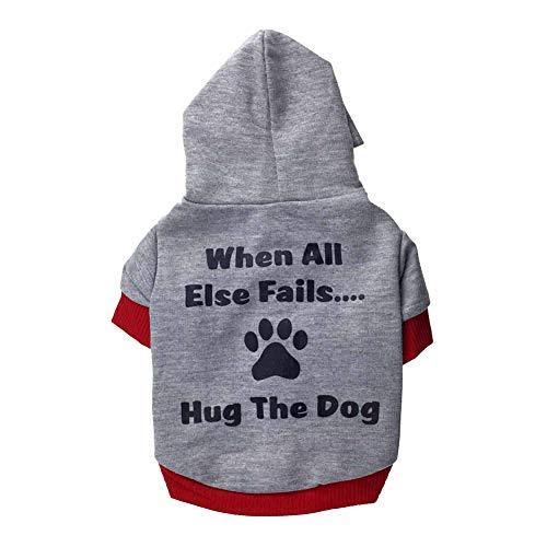 CricTeQleap Mode niedlichen Haustier Hund Brief Pfote T-Shirt Kurzarm mit Kapuze Kleidung Weiches Geschenk Grey + Red M