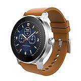 XWEM Bluetooth-Uhr Vollkreis Smart Watch Herzfrequenz Blutdruck-Detektoren-Fitness-Pedometer unterstützen Fernbedienung Selbstzeit-Bewegung-Informationen drücken,brownleather