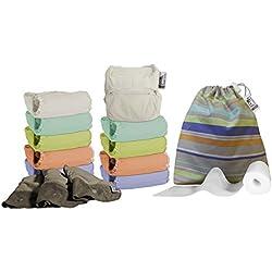 Close Parent 3121001114 - Pack de 10 pañales de tela en colores pastel con interior de bambú + 3 absorbentes de noche + 80 forros + 1 bolsa impermeable
