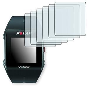 """6 x protectores pantalla Golebo para Polar V800. Lámina protectora adhesiva invisible """"Crystal Clear"""". Fabricado en Alemania. (Intencionadamente es más pequeña que la pantalla ya que esta es curva)"""