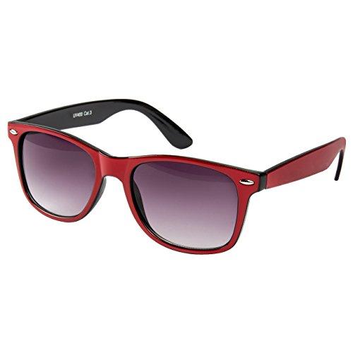 Ciffre EL-Sunprotect® Nerdbrille Brille Nerd Sonnenbrille Hornbrille Rot Schwarz