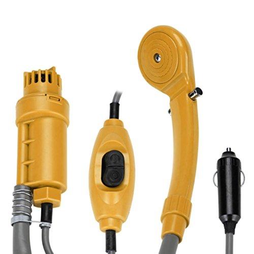 Campingdusche Auto Dusche mit Tauchpumpe, 12V Reisedusche mit Tauchpumpe für Camping, Auto Outdoor, Garten und Wasserkraft Haustiere (Gelb)