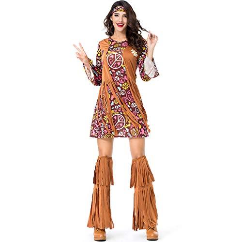 TIESALUONI Frauen und Tribal Native American Indian Princess Kostüm-Halloween-Kostüm des Mädchens, für Cosplay, Drama Spielen und Halloween Party, (Womens Native Prinzessin Kostüm)