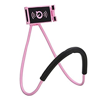Chapter Seven Universal Smart Mobile Phone Stand,Hanging on Neck Cell Phone Mount Holder, Flexible Lazy Bracket DIY Free Rotating for Multiple Functions (Pink)