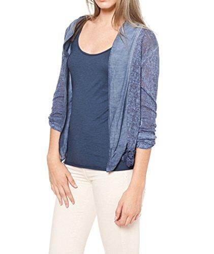 Laura Moretti - Blouson/Veste sans boutons à manches longues réglables à 3/4, et des détails brodés au bas Bleu
