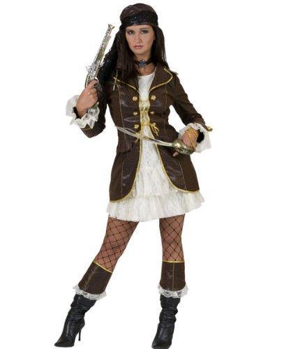 Pierro´s Kostüm Piratin Florence Piraten Damenkostüm Kleid Jacke Stiefelumschlag Größe 36 38 40 42 44 46 48 50 für Karneval, Fasching, Halloween, Motto Party / Abenteuer, (Piraten Kostüme Party Thema)